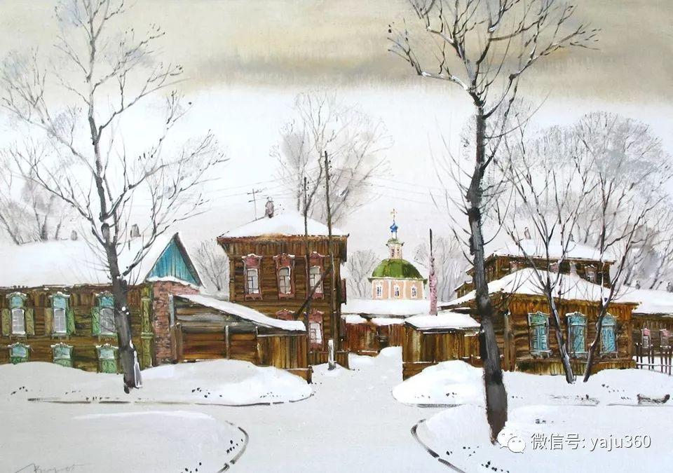 油画世界:俄罗斯的雪景油画欣赏插图54
