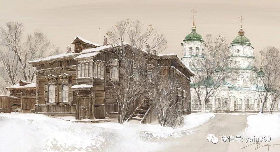 油画世界:俄罗斯的雪景油画欣赏插图76