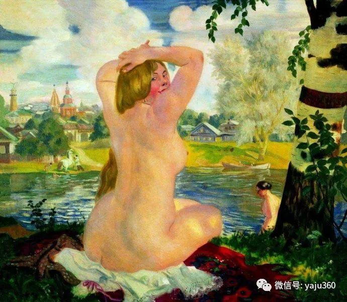俄罗斯后印象派画家Boris Kustodiyev人物画插图