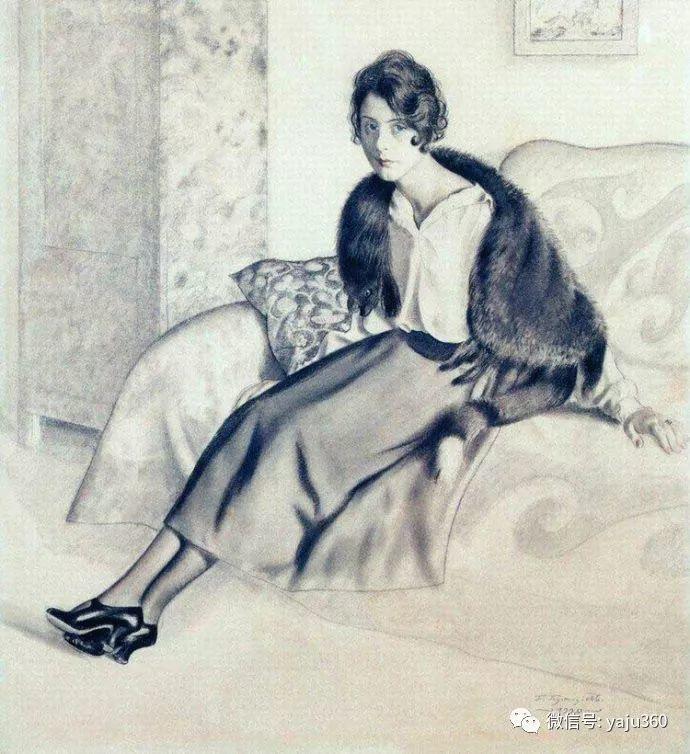 俄罗斯后印象派画家Boris Kustodiyev人物画插图24