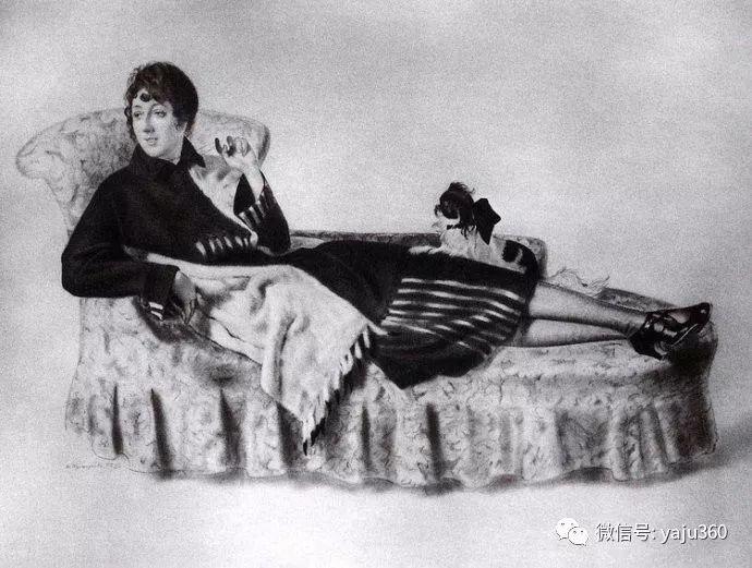 俄罗斯后印象派画家Boris Kustodiyev人物画插图39