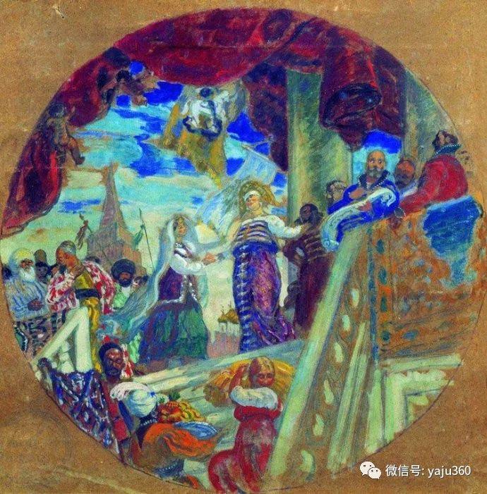 俄罗斯后印象派画家Boris Kustodiyev人物画插图45