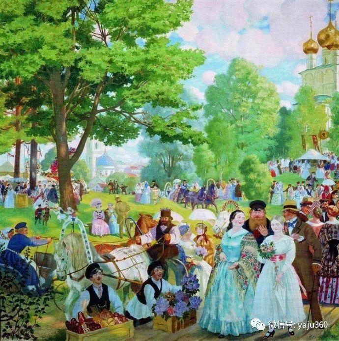 俄罗斯后印象派画家Boris Kustodiyev人物画插图48
