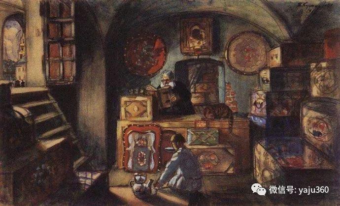 俄罗斯后印象派画家Boris Kustodiyev人物画插图53