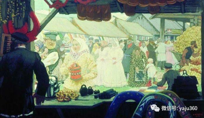 俄罗斯后印象派画家Boris Kustodiyev人物画插图54