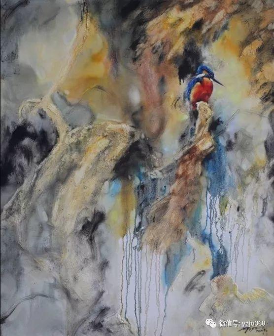 黄月花鸟油画作品插图