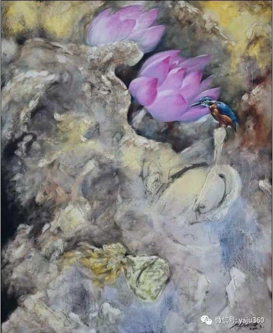 黄月花鸟油画作品插图1