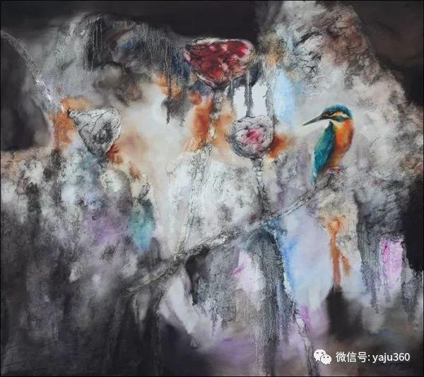 黄月花鸟油画作品插图4