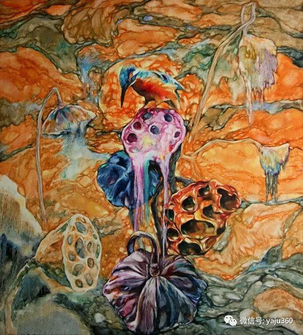 黄月花鸟油画作品插图15