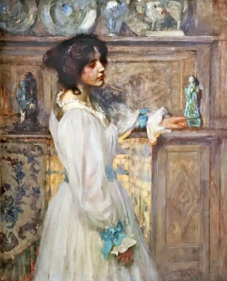 画家笔下苗条的女子,美丽优雅!英裔美国画家James Jebusa Shannon插图4