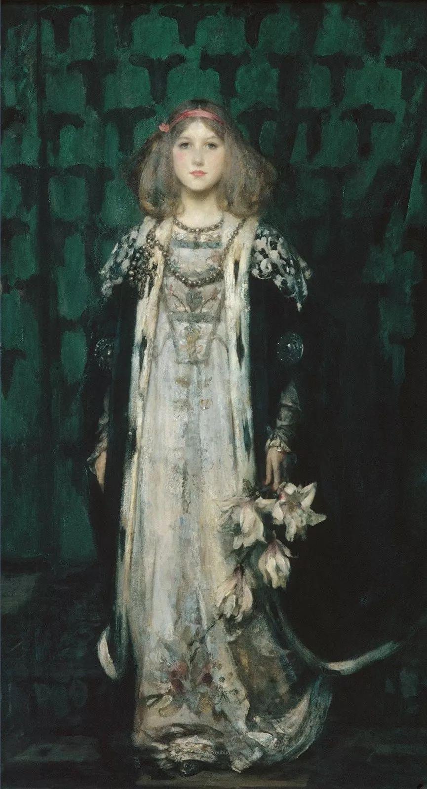 画家笔下苗条的女子,美丽优雅!英裔美国画家James Jebusa Shannon插图8