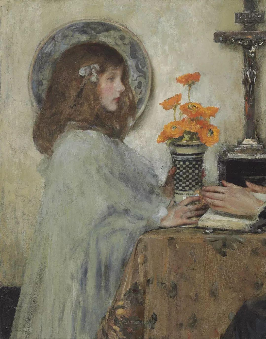 画家笔下苗条的女子,美丽优雅!英裔美国画家James Jebusa Shannon插图9