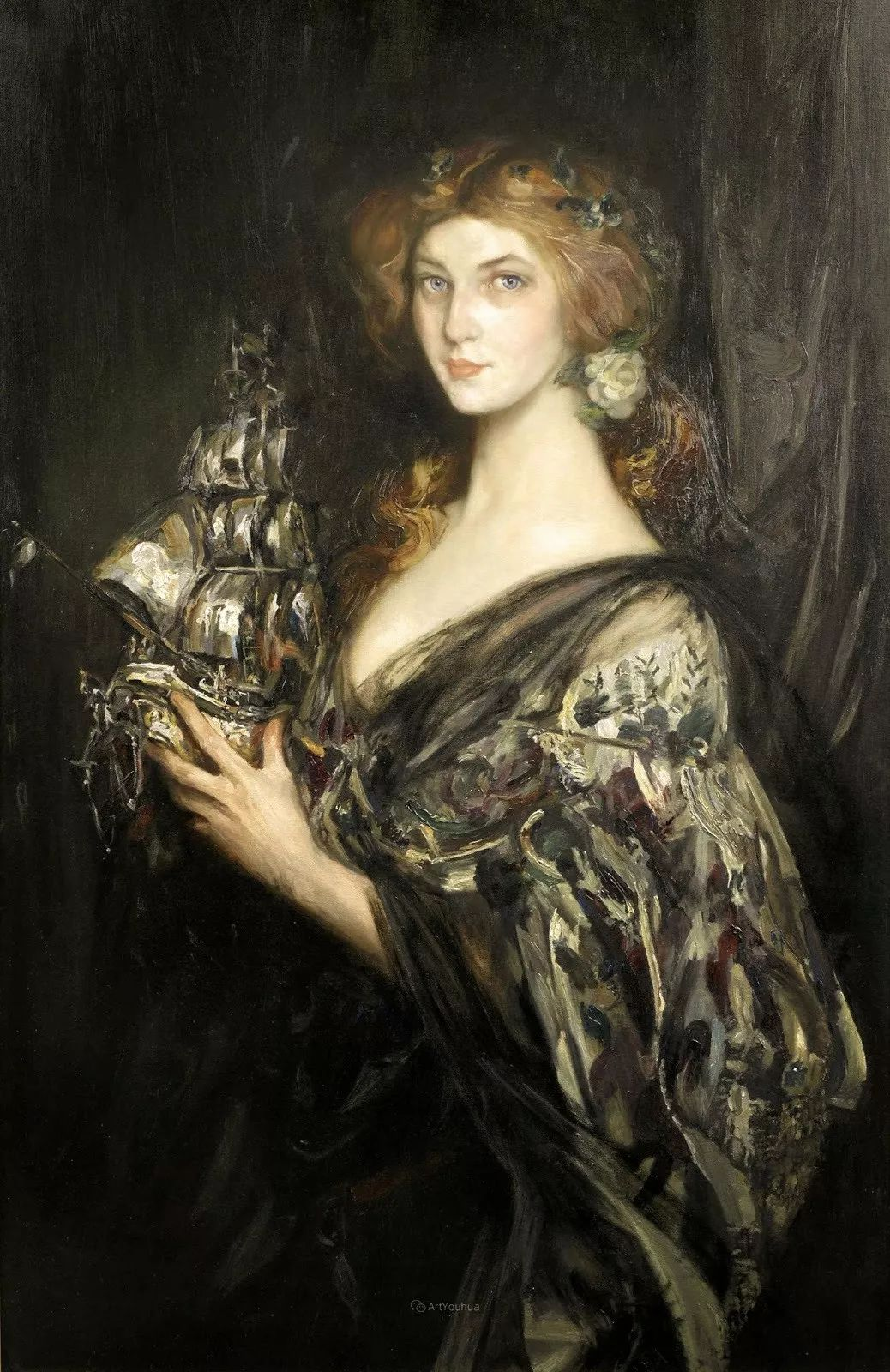 画家笔下苗条的女子,美丽优雅!英裔美国画家James Jebusa Shannon插图10