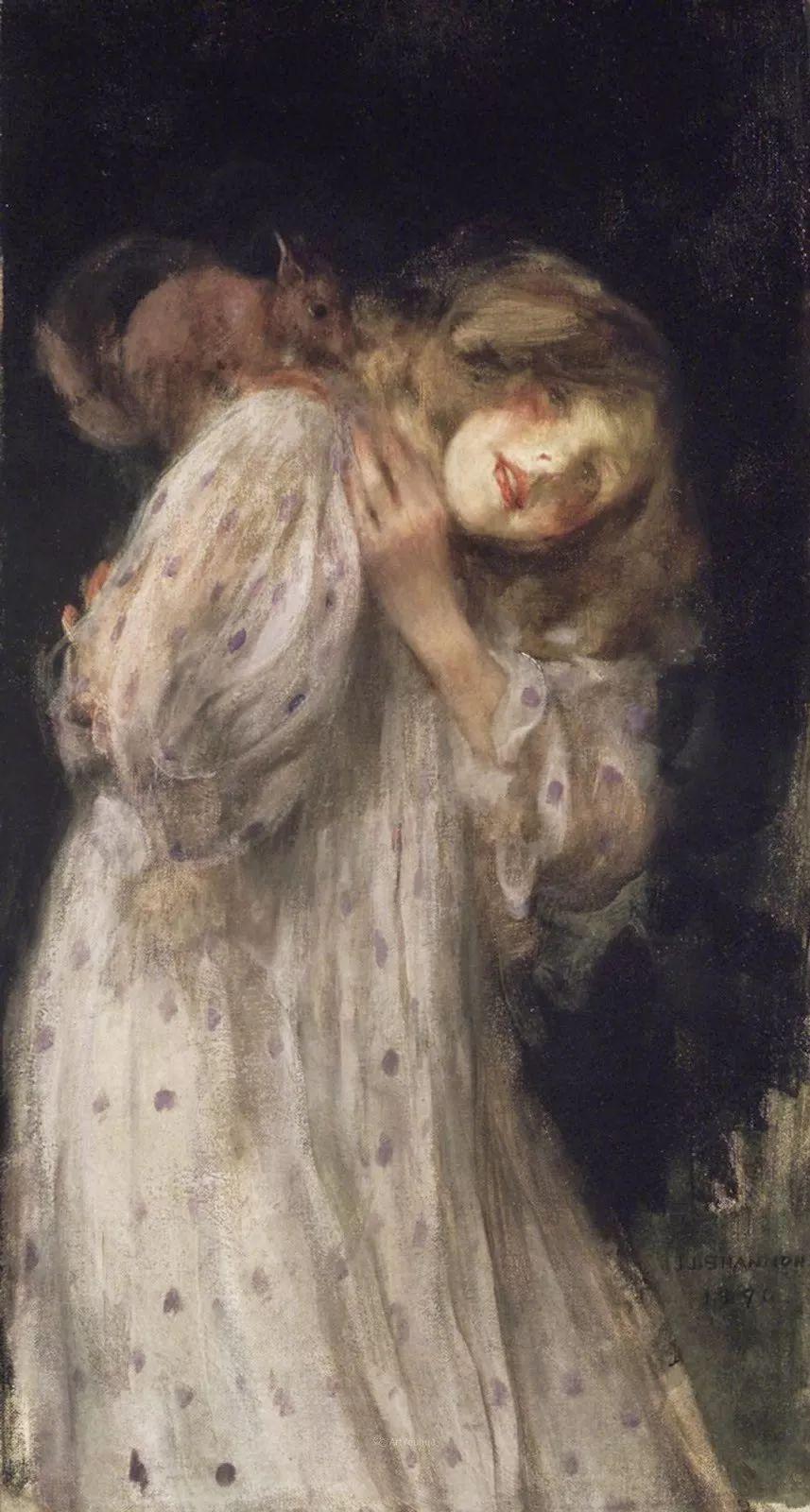 画家笔下苗条的女子,美丽优雅!英裔美国画家James Jebusa Shannon插图19