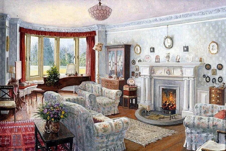 温馨的家,英国画家Stephen John Darbishire插图1