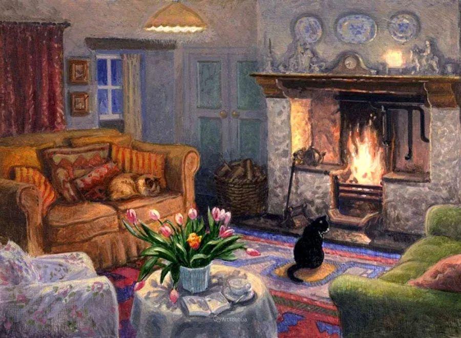 温馨的家,英国画家Stephen John Darbishire插图4