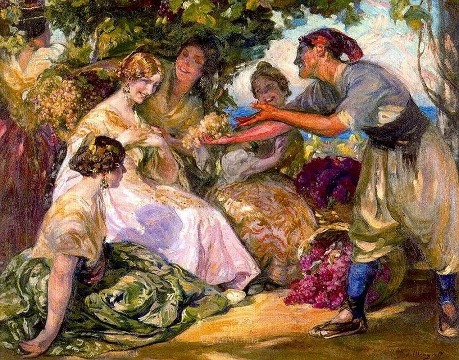 一起的快乐时光,西班牙画家Jose Mongrell y Torrent插图1