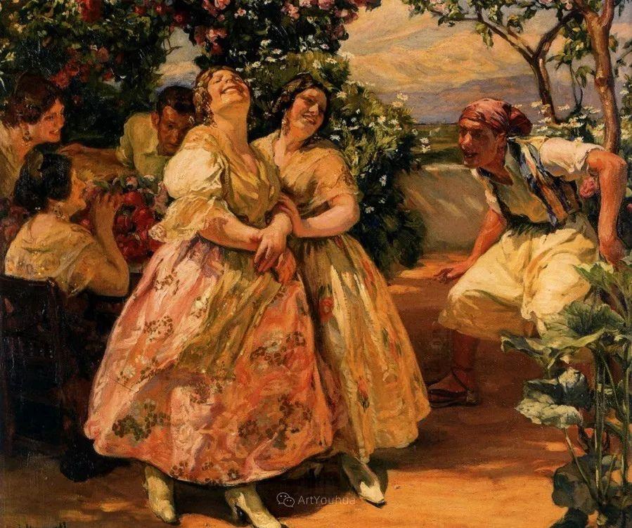 一起的快乐时光,西班牙画家Jose Mongrell y Torrent插图5