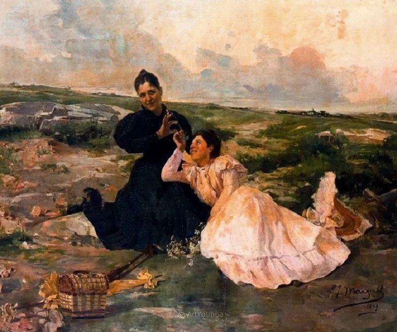 一起的快乐时光,西班牙画家Jose Mongrell y Torrent插图27