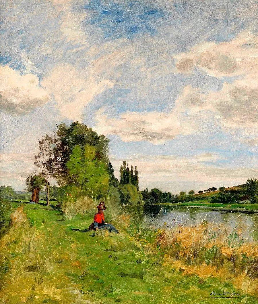 河边的风景,法国画家Edmond Charles Joseph Yon插图