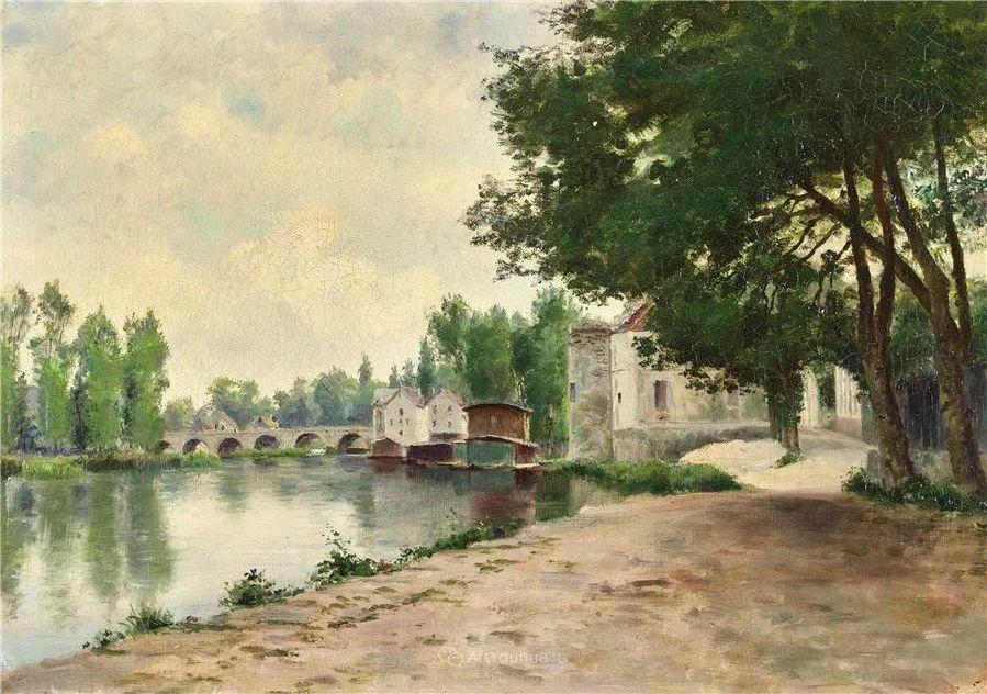 河边的风景,法国画家Edmond Charles Joseph Yon插图1
