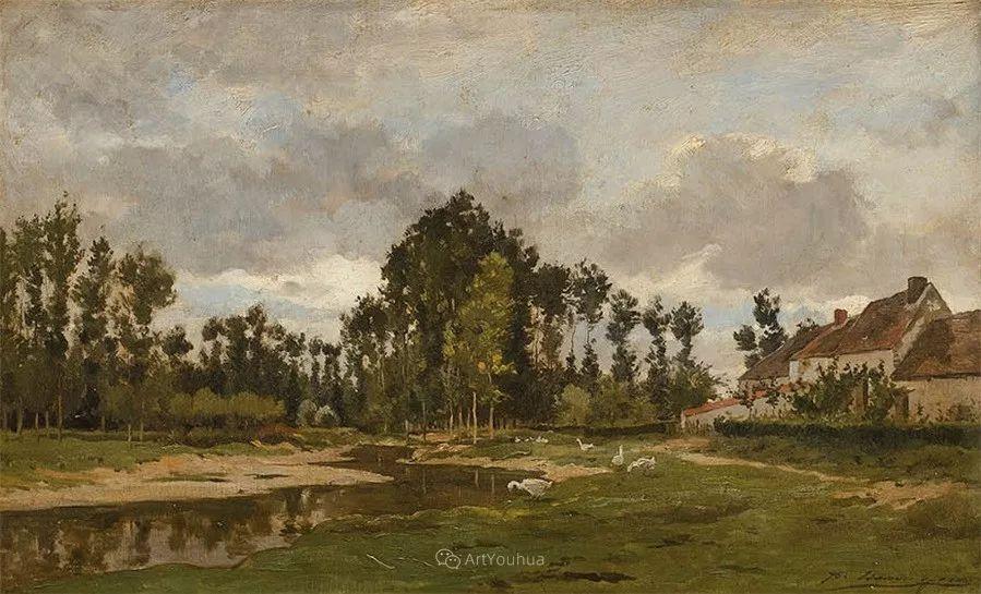 河边的风景,法国画家Edmond Charles Joseph Yon插图3