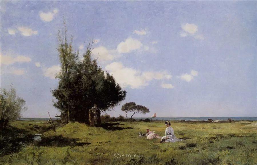 河边的风景,法国画家Edmond Charles Joseph Yon插图6