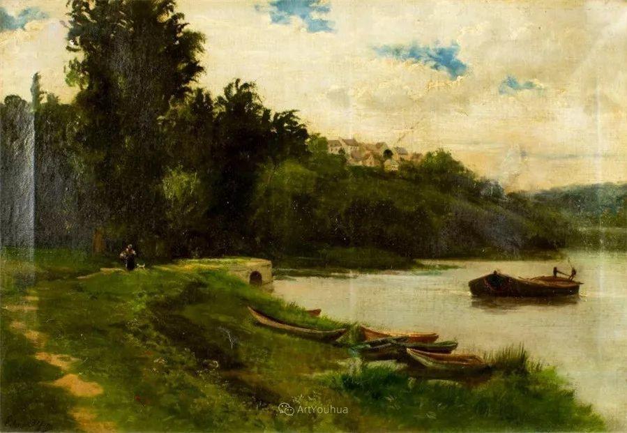 河边的风景,法国画家Edmond Charles Joseph Yon插图8