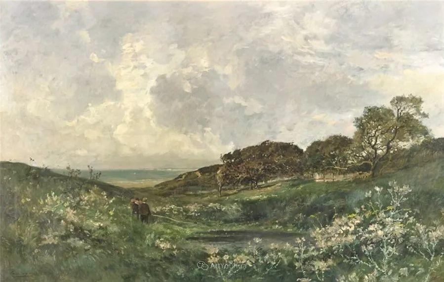 河边的风景,法国画家Edmond Charles Joseph Yon插图9