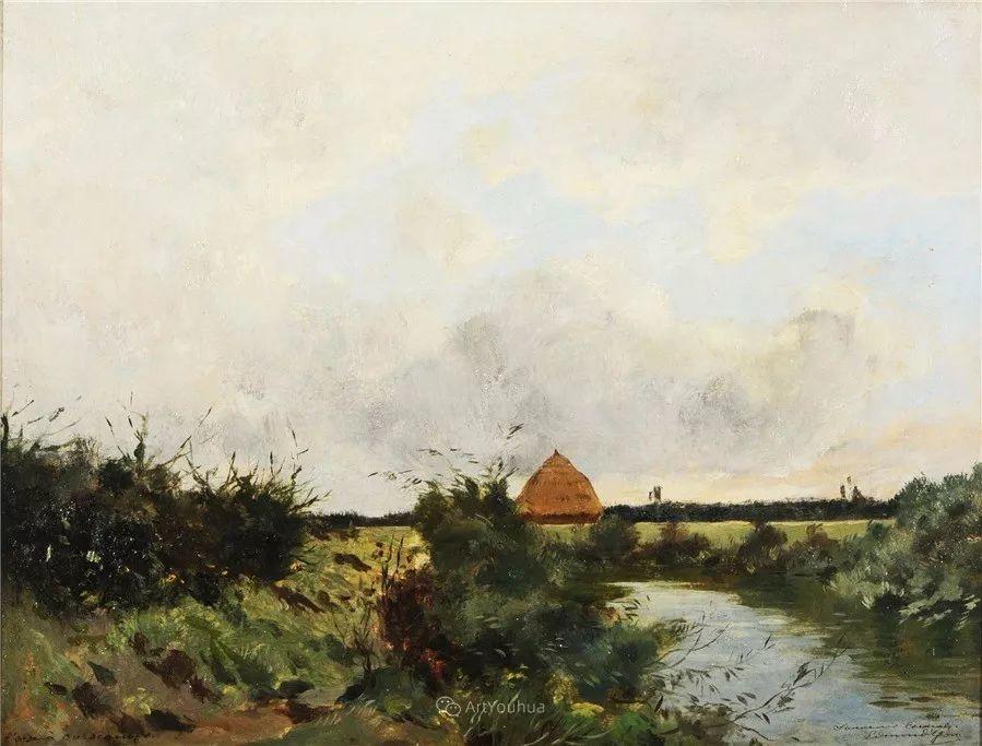 河边的风景,法国画家Edmond Charles Joseph Yon插图10