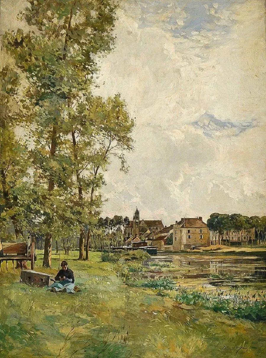 河边的风景,法国画家Edmond Charles Joseph Yon插图11