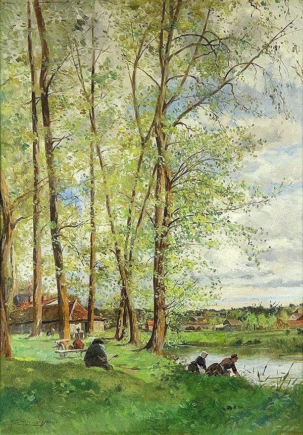 河边的风景,法国画家Edmond Charles Joseph Yon插图13