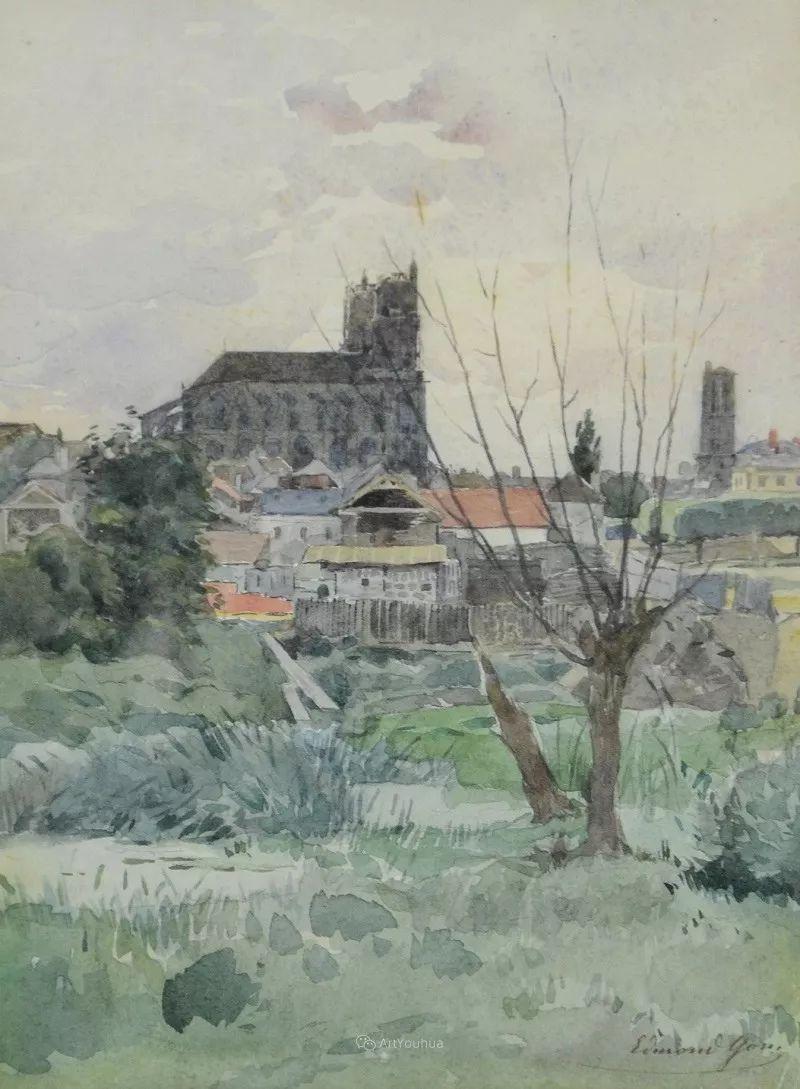 河边的风景,法国画家Edmond Charles Joseph Yon插图14