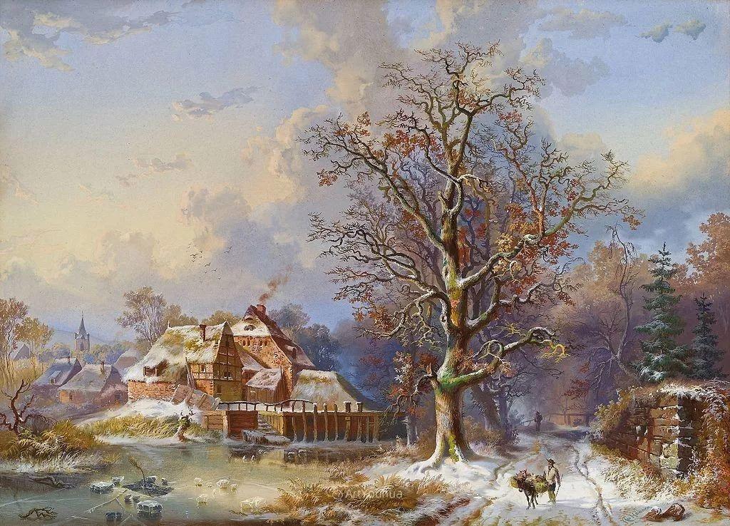 美丽精细的雪景,荷兰画家Remigius van Haanen插图