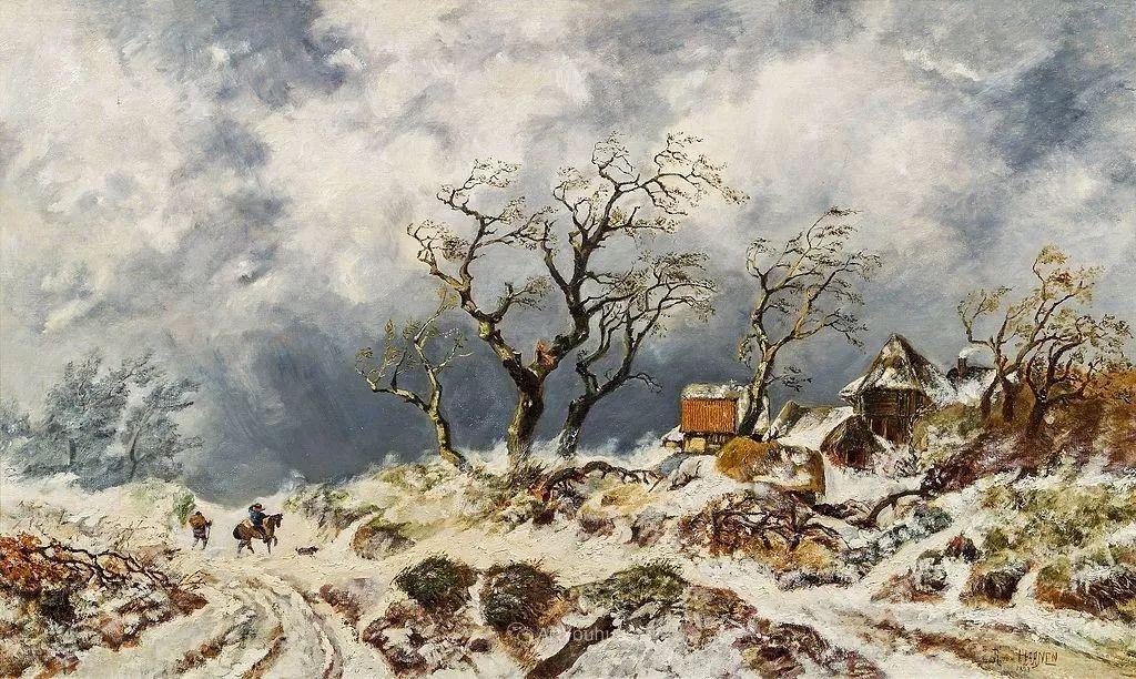 美丽精细的雪景,荷兰画家Remigius van Haanen插图3