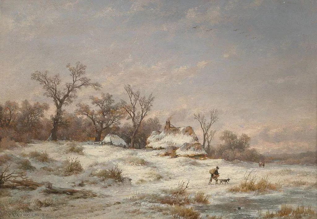 美丽精细的雪景,荷兰画家Remigius van Haanen插图4