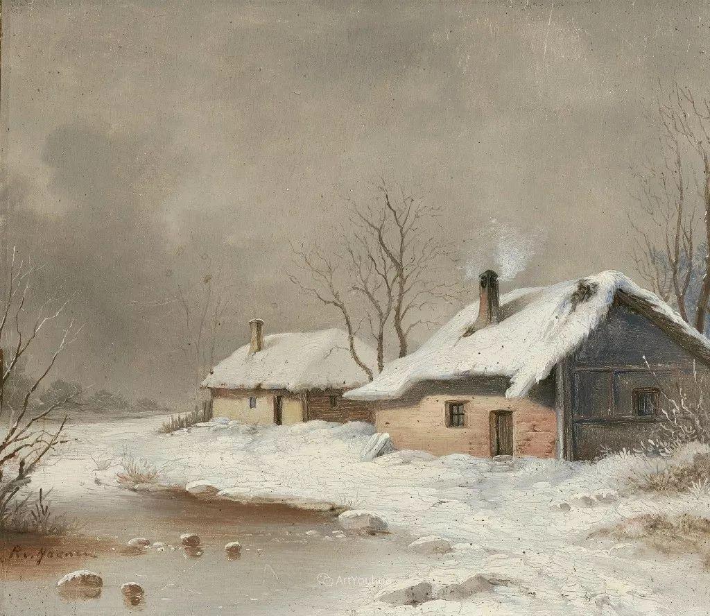 美丽精细的雪景,荷兰画家Remigius van Haanen插图5