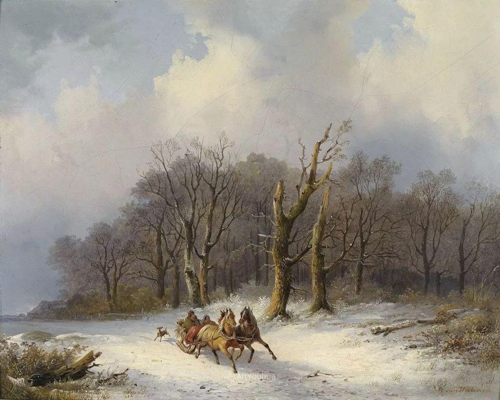 美丽精细的雪景,荷兰画家Remigius van Haanen插图9