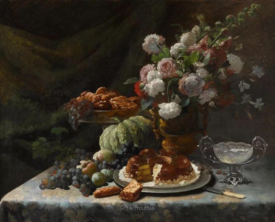 花卉静物画,比利时画家Frans Mortelmans插图1