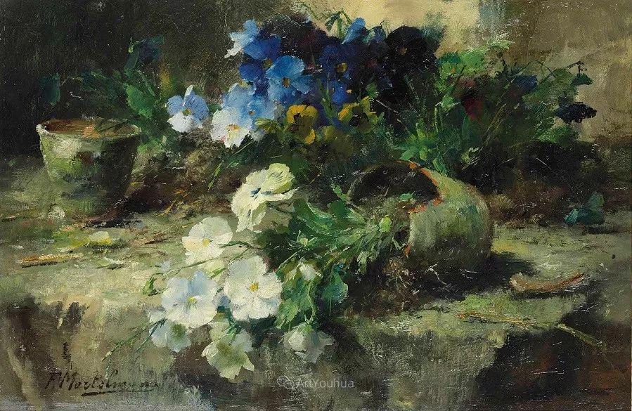 花卉静物画,比利时画家Frans Mortelmans插图2