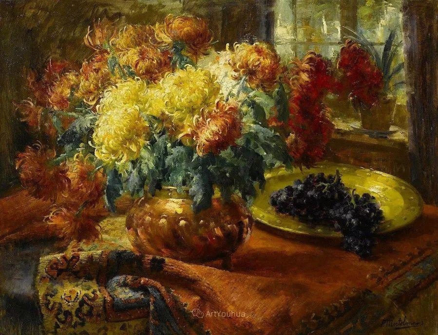 花卉静物画,比利时画家Frans Mortelmans插图4
