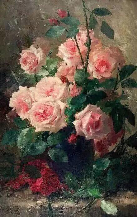 花卉静物画,比利时画家Frans Mortelmans插图8