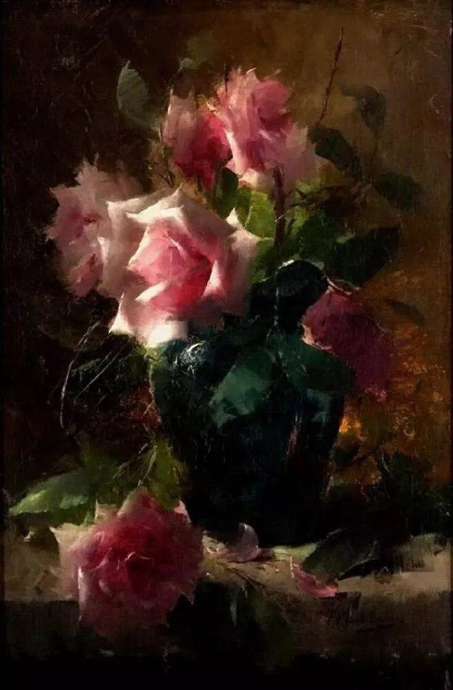 花卉静物画,比利时画家Frans Mortelmans插图10