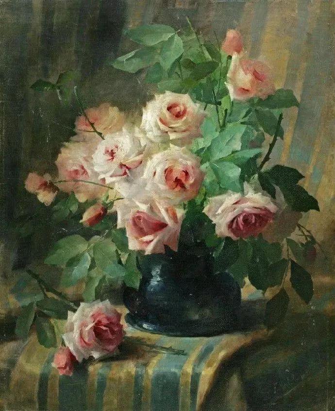 花卉静物画,比利时画家Frans Mortelmans插图11