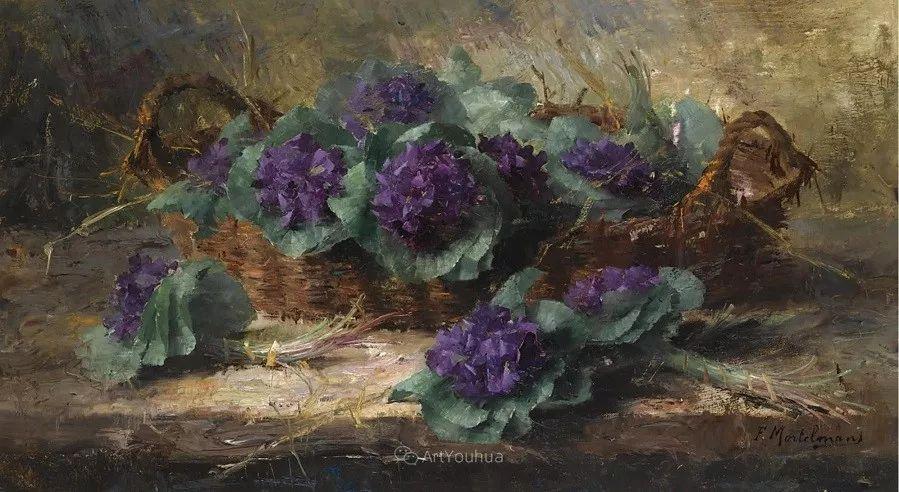 花卉静物画,比利时画家Frans Mortelmans插图14