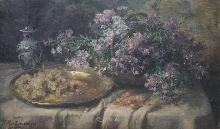 花卉静物画,比利时画家Frans Mortelmans插图16