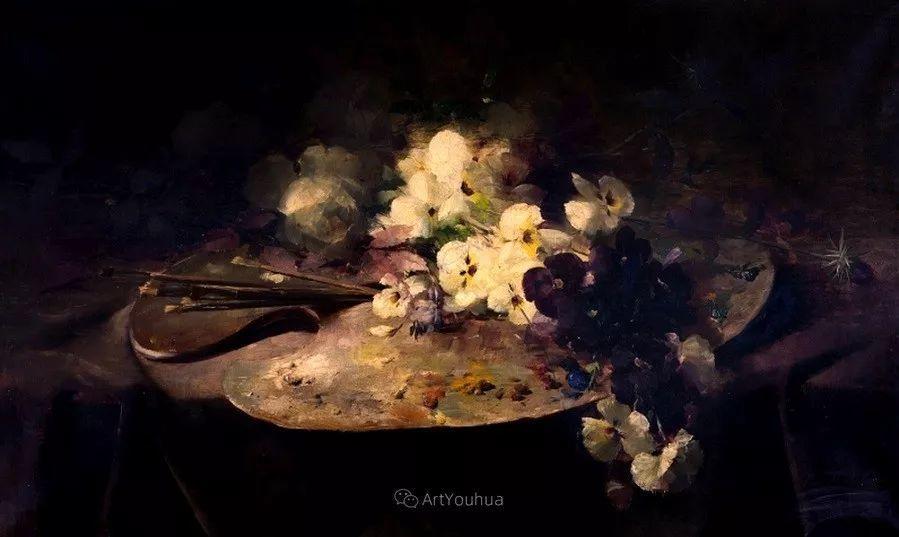 花卉静物画,比利时画家Frans Mortelmans插图18