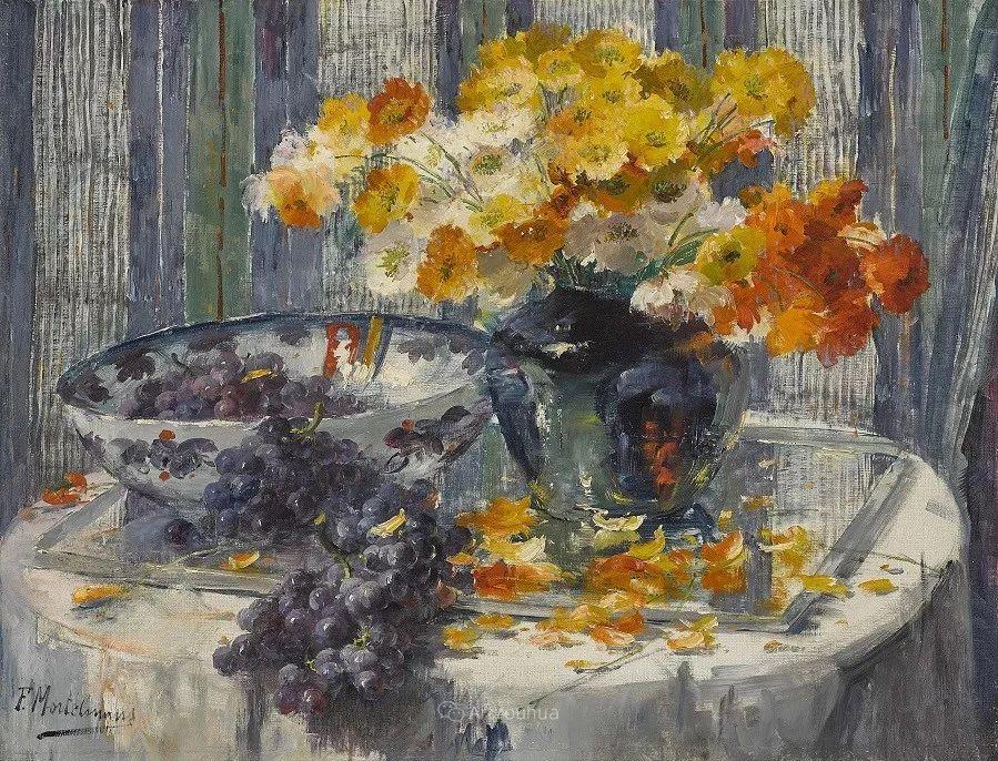 花卉静物画,比利时画家Frans Mortelmans插图20