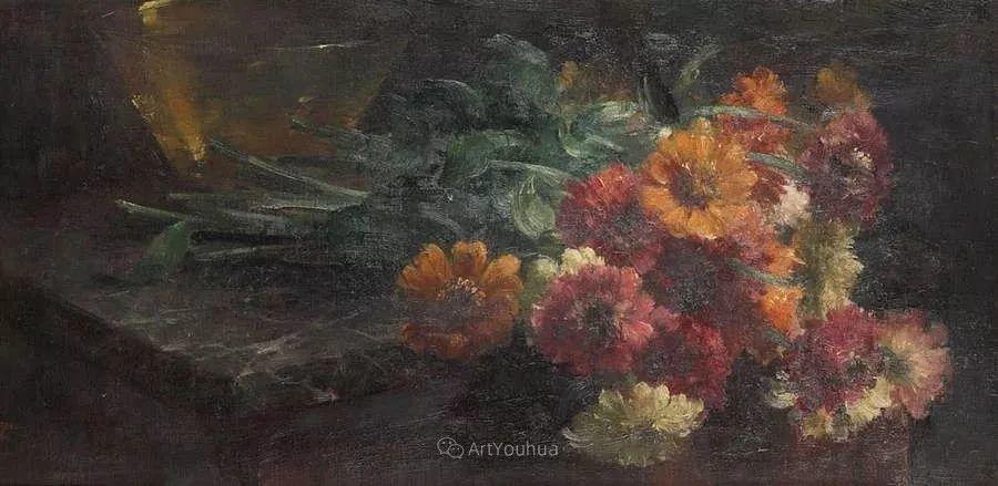 花卉静物画,比利时画家Frans Mortelmans插图21