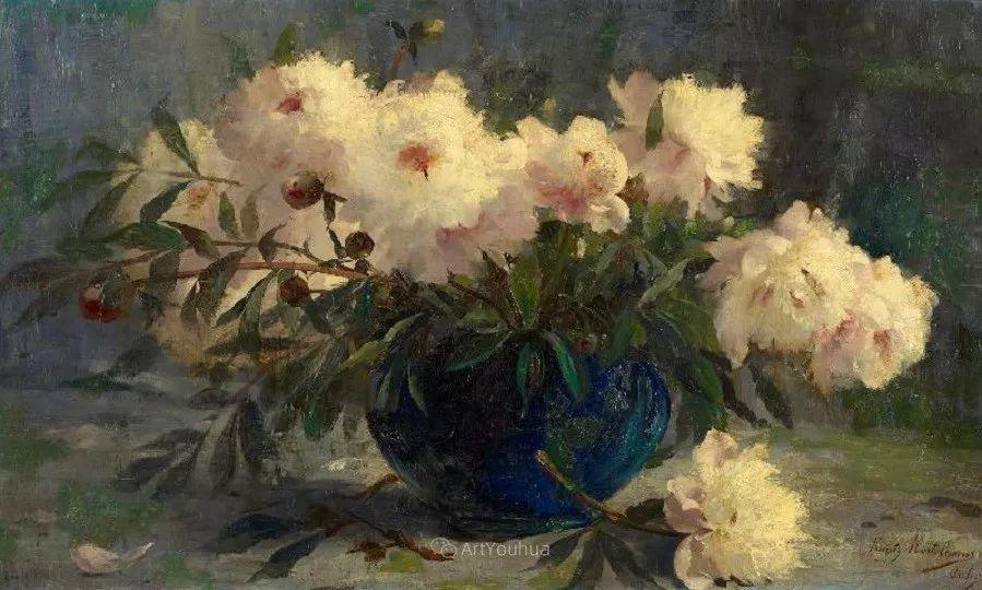花卉静物画,比利时画家Frans Mortelmans插图22